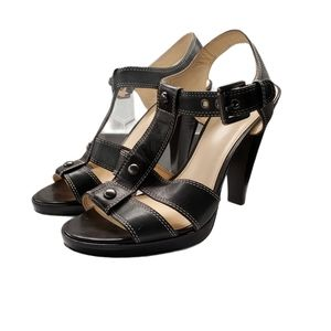 Coach Leather T-Strap Ankle Strap Heel Sandal